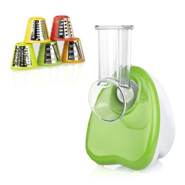 NutriChef PKELS70 White and Green Electric Salad Shooter and Shredder