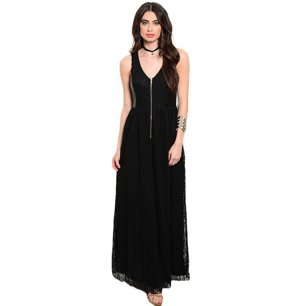 Shop the Trends Women's Sleeveless Maxi Dress With V-Neckline And Exposed Zipper On Bodice