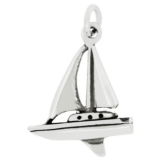 Sterling Silver Ocean Sailboat Charm Pendant with Carded 18-inch Sterling Silver Box Chain