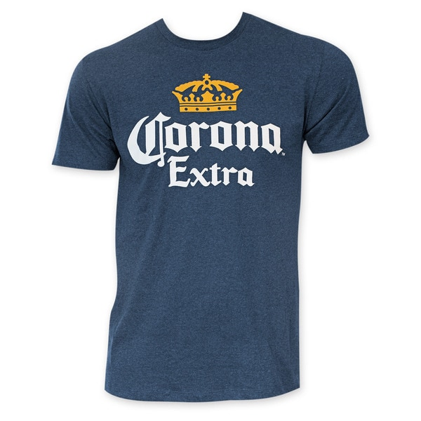 Corona Extra Heather Navy Blue Palms Logo T-Shirt