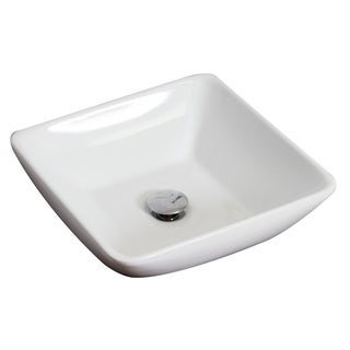 16-in. W x 16-in. D Above Counter Square Vessel In White Color For Wall Mount Faucet
