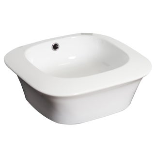 17-in. W x 17-in. D Above Counter Square Vessel In White Color For Deck Mount Faucet