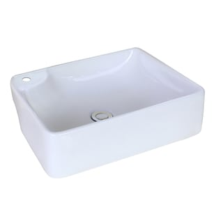 17.32-in. W x 13.39-in. D Above Counter Rectangle Vessel In White Color For Single Hole Faucet
