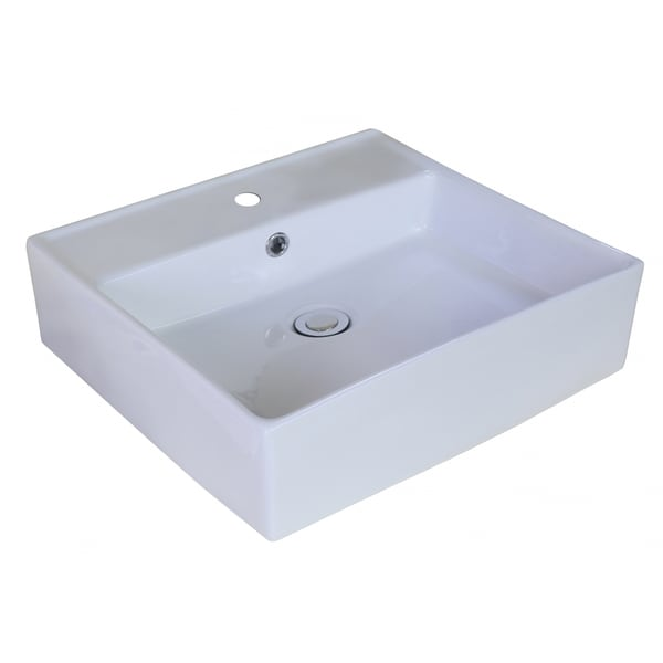18-in. W x 18-in. D Above Counter Rectangle Vessel In White Color For Single Hole Faucet