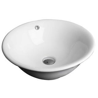 18-in. W x 18-in. D Above Counter Round Vessel In White Color For Wall Mount Faucet