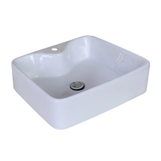 18.9-in. W x 14.96-in. D Above Counter Rectangle Vessel In White Color For Single Hole Faucet