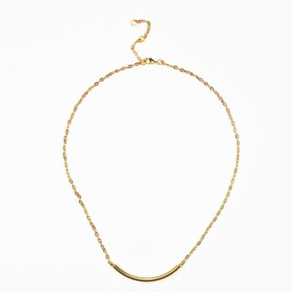 18K Gold Plated Curved Pendant Necklace with 16-Inch Chain (China)