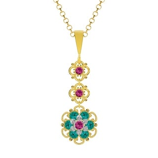 Lucia Costin Sterling Silver Fuchsia/ Turquoise - Green Crystal Pendant