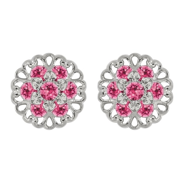 Lucia Costin Sterling Silver Pink Crystal Earrings