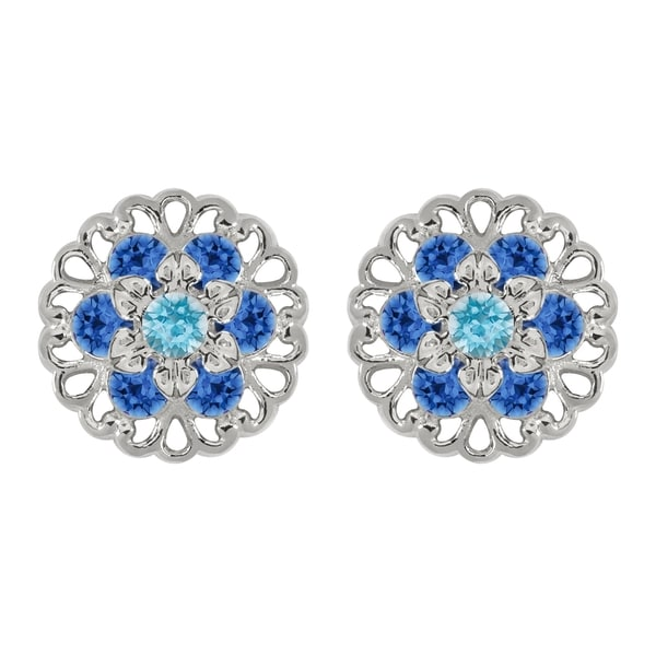 Lucia Costin Sterling Silver Light Blue/ Blue Crystal Earrings 16712249