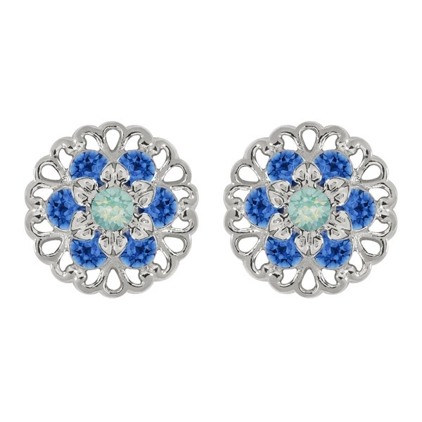 Lucia Costin Sterling Silver Mint Blue/ Blue Crystal Earrings 16712265