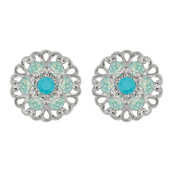Lucia Costin Sterling Silver Turquoise/ Mint Blue Crystal Earrings 16712276