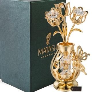 Genuine Matashi Crystals Vase Ornament Dipped in 24k Goldplating