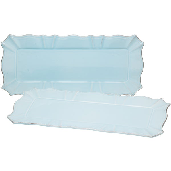 Countryside Whisper Blue Rect 14.5-inch x 7-inch Platter (Set of 2)
