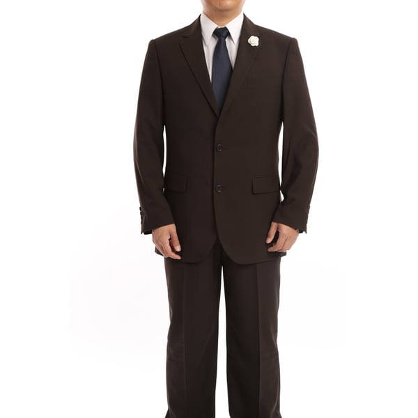 Verno Servello Men's Dark Brown Textured Stripe Classic Fit Italian Styled Two-Piece Suit
