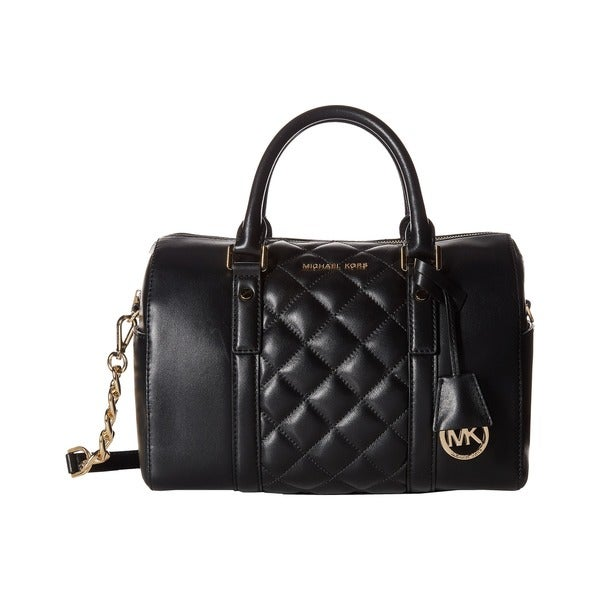 Michael Michael Kors Grayson Medium Quilted Satchel - Black/Gold