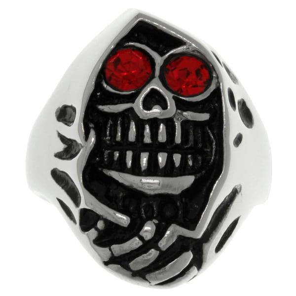 CGC Stainless Steel Red Cubic Zirconia Grim Reaper Skull Ring