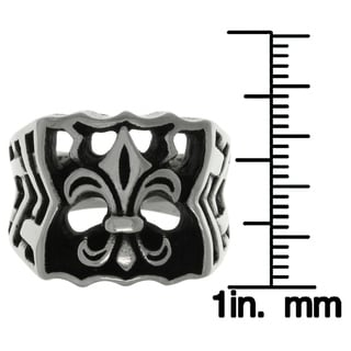 Carolina Glamour Collection Stainless Steel Fleur De Lis Wide Band Ring