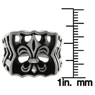 CGC Stainless Steel Fleur De Lis Wide Band Ring