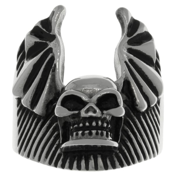 CGC 316L Surgical Stainless Steel Skull Bat Wing Ring