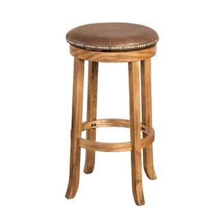 York Faux Leather Nailhead Swivel Counter Stool 24 In H