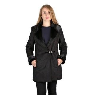Vera Wang Black Faux Shearling Coat
