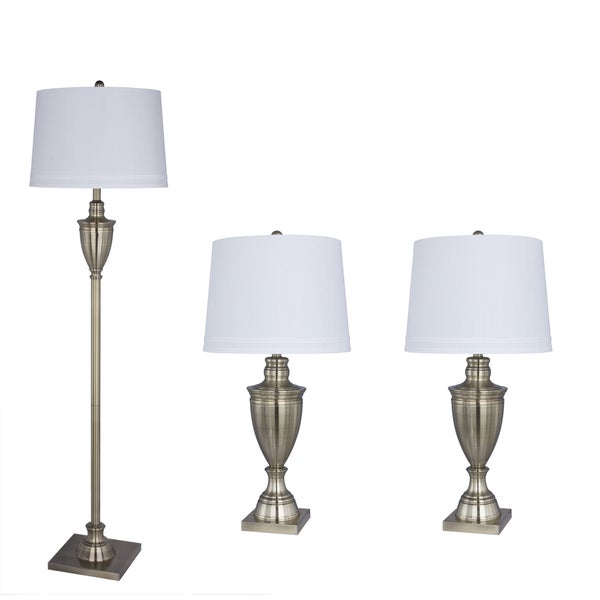 3PC Metal Lamp Set in Antique Brass Finish