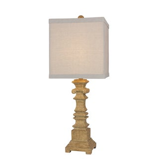 32 inch Resin Table Lamp in Brown Wood Finish