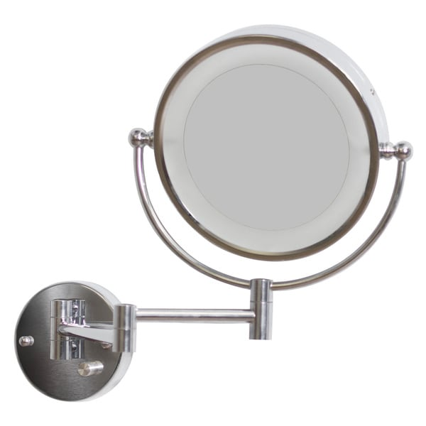 8.5-in. W Round Brass-LED Wall Mount Magnifying Mirror In Chrome Color