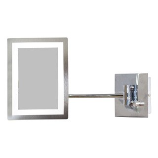 6.25-in. W Rectangle Brass-LED Wall Mount Magnifying Mirror In Chrome Color