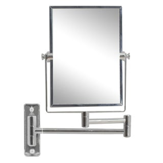 5-in. W Rectangle Brass-Mirror Wall Mount Magnifying Mirror In Chrome Color