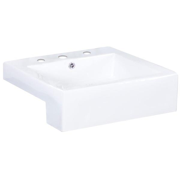 20-in. W x 20-in. D Semi-Recessed Rectangle Vessel In White Color For 8-in. o.c. Faucet