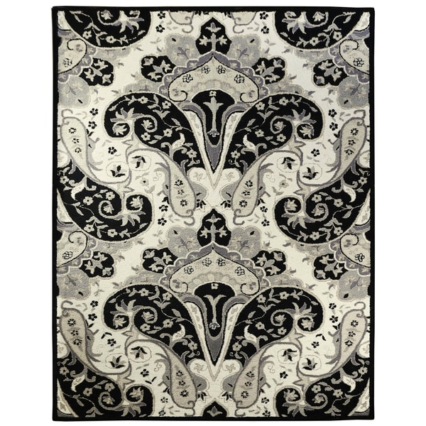 Black Paisley Wave (8'x11') Wool Rug