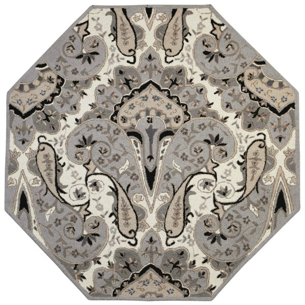 Silver Paisley Wave (8'x8') Octagon Wool Rug