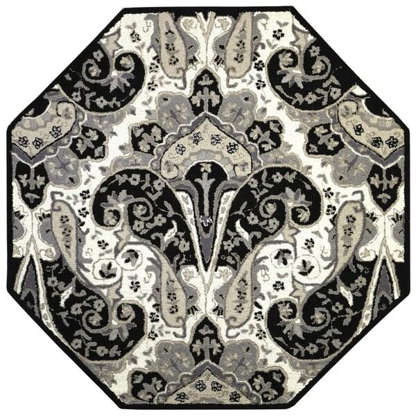Black Paisley Wave (8'x8') Octagon Wool Rug