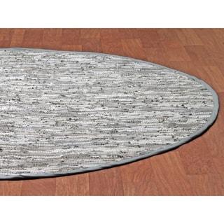 White Matador Leather Chindi (3'x3') Round Rug