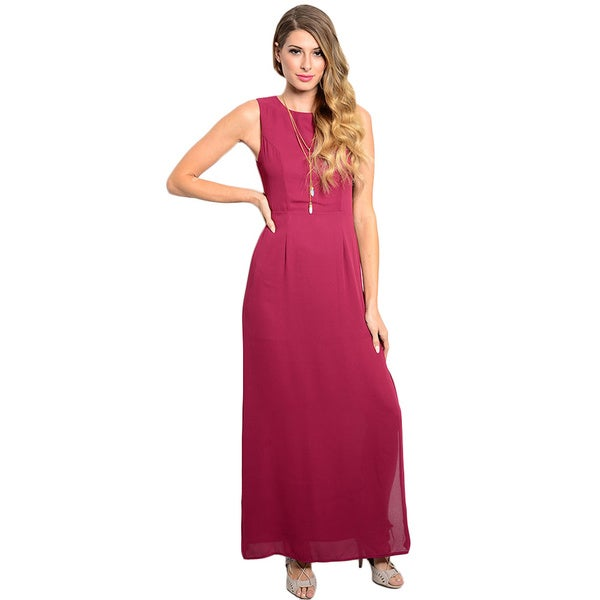 Shop the Trends Women's Sleeveless Woven Maxi Dress With Waist Cutouts On Back And Zipper Closure