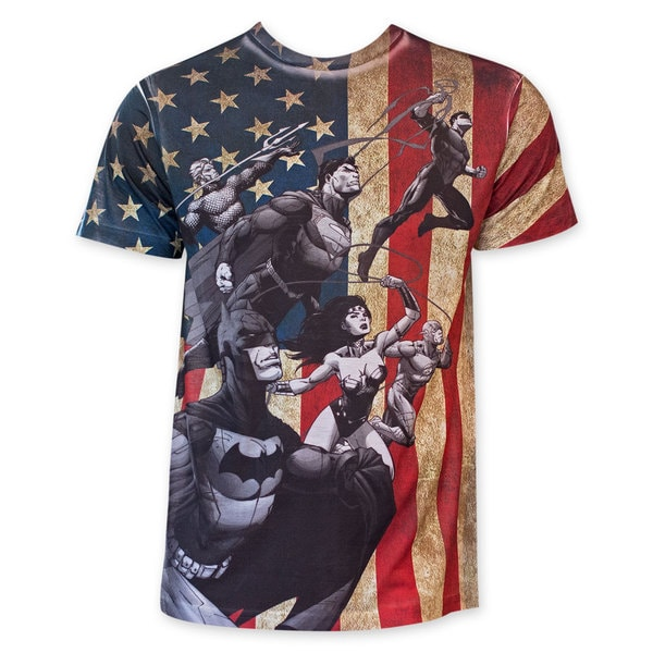 DC Comics Sublimated American Flag Characters Tee Shirt