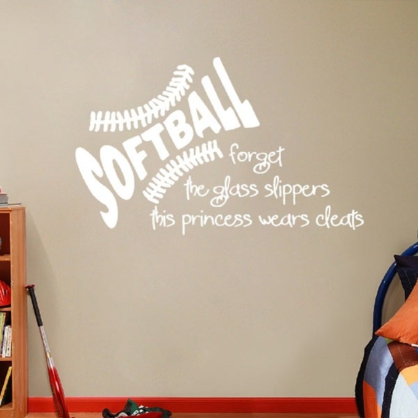 "SOFTBALL, This Princess Wears Cleats - 24"" x 16"" Wall Decal"
