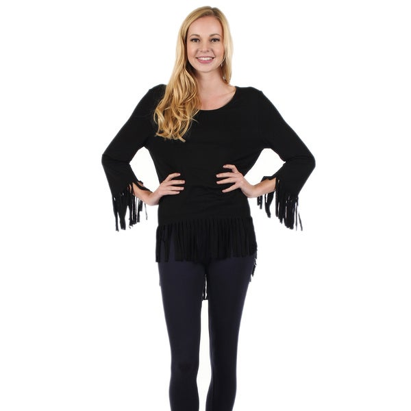 Firmiana Women's Long Sleeve Black Tunic with Cut Slits on Sleeves and Bottom
