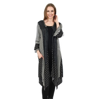 Firmiana Women's 3/4 Sleeve Hacci Black and White Polka Dot/ Stripe Pattern Open Front Duster with Sidetails