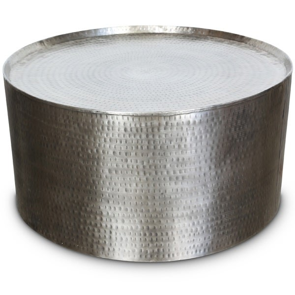 Porter Rotonde Hammered Metal Industrial Round Coffee
