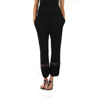 Firmiana Women's Long Black Elastic Waistband Pants with Pockets and Button Accented Elastic Bottom