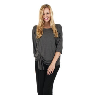 Firmiana Women's 3/4 Sleeve Grey Top/Tunic with Off Center Knot