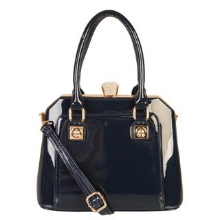 Rimen & Co. Patent Faux Leather Gold and Crystal Clasp Handbag