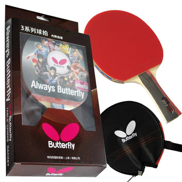 Butterfly 303 Shakehand Table Tennis Racket Set with Ping Pong Paddle Case - Pips In and Out Rubber