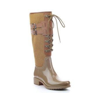 Beston DA58 Women's Lace Up Two Tone Knee High Rain Boots