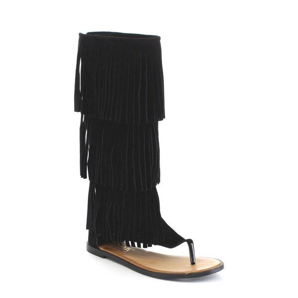 Beston DA61 Women's 3-Layers Tassel Back Zipper Flat Knee High Top Sandals