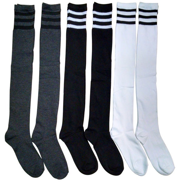 6 Pairs excell Over the Knee Thigh High Referee Socks for Ladies Size 9-11