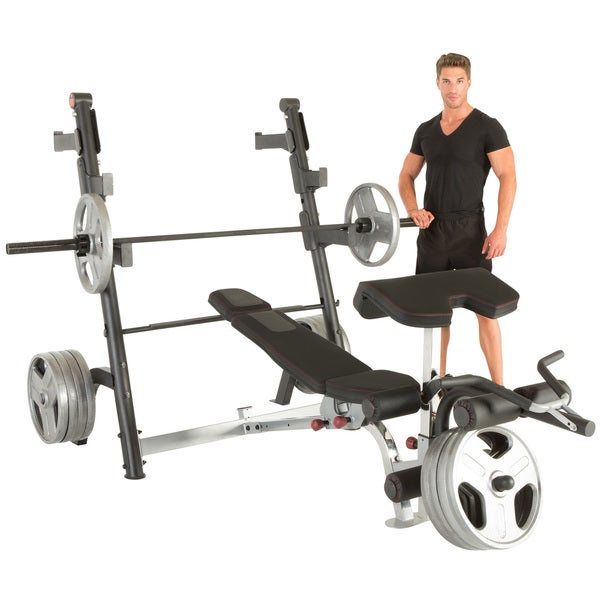 IRONMAN Triathlon X-Class Olympic Weight Bench with Preacher Curl and Leg Developer Attachment